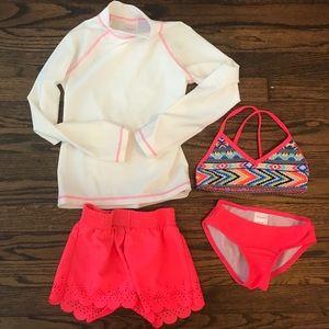 Girls bikini and rash guard swim shorts set
